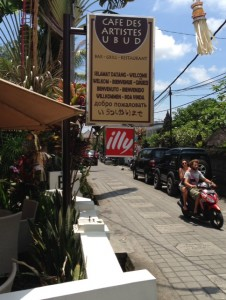 The shuttle bus from the hotel dropped us off at least half a mile from the main streets of Ubud. A lucky find this cafe, as I was about to expire from the intense Noon-day heat. Silly us for being out that time of day.