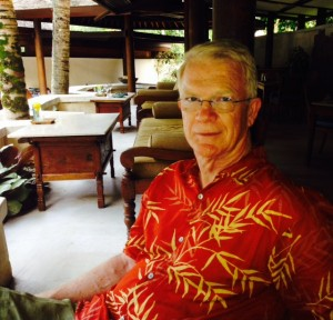 Ed relaxing at the cafe in the hotel after we negotiated the streets of Ubud in the heat.