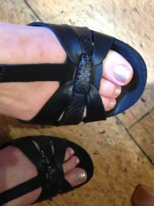 My exposed toes painted in OPI's Up Front and Personal.