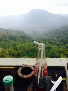 Ed snapped a photo of the volcano from his seat at the railing table. Remarkable composition work!